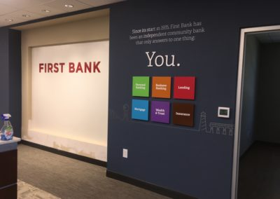 First Bank Wall Acrylics and Vinyl lettering