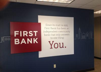 First Bank Wall Graphics and Custom 3-D Panel